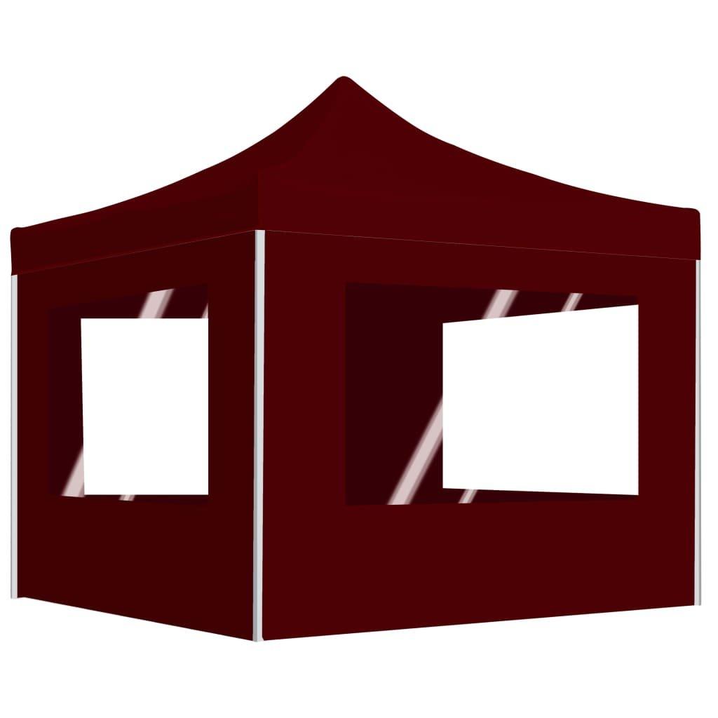 Profesionální skládací party stan + stěny hliník - vínový | 3x3 m
