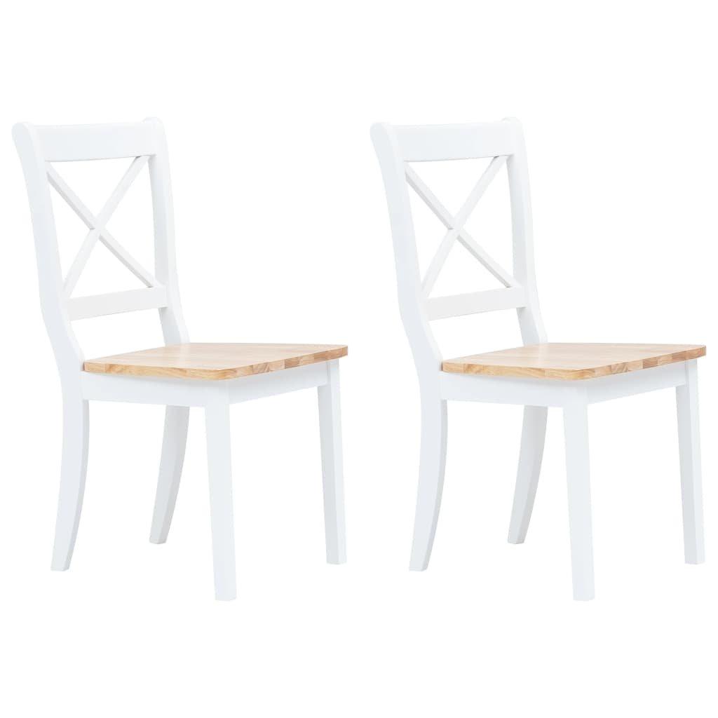 Jídelní židle - 2ks - bílo-hnědé - masivní kaučukovník
