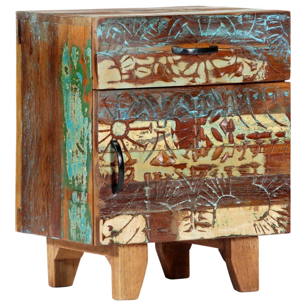 Ručně vyřezávaný noční stolek - recyklované dřevo | 40x30x50 cm