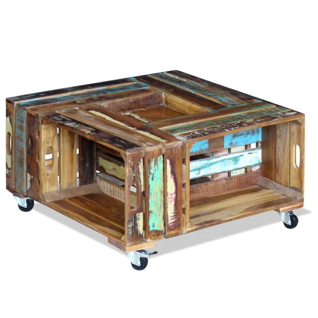 Konferenční stolek - masivní recyklované dřevo | 70x70x35 cm