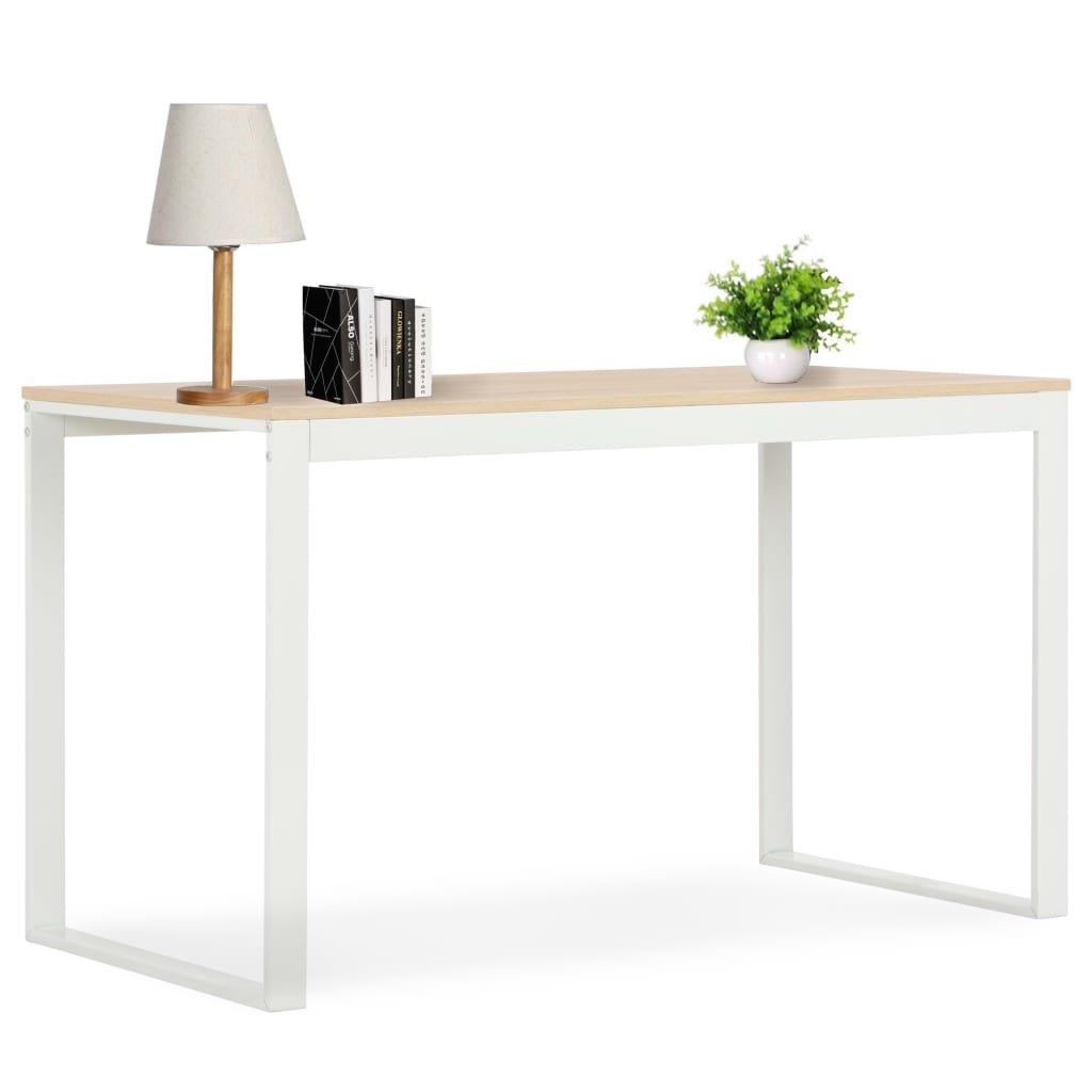 PC stůl Coin - bílý a dubový odstín   120 x 60 x 73 cm