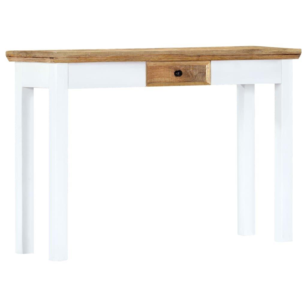Konzolový stůl - masivní mangovníkové dřevo - bílohnědý   110x35x75cm