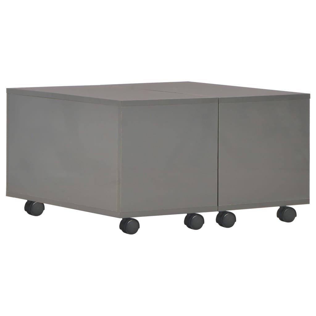 Konferenční stolek - dřevotříska - šedý vysoký lesk   60x60x35 cm