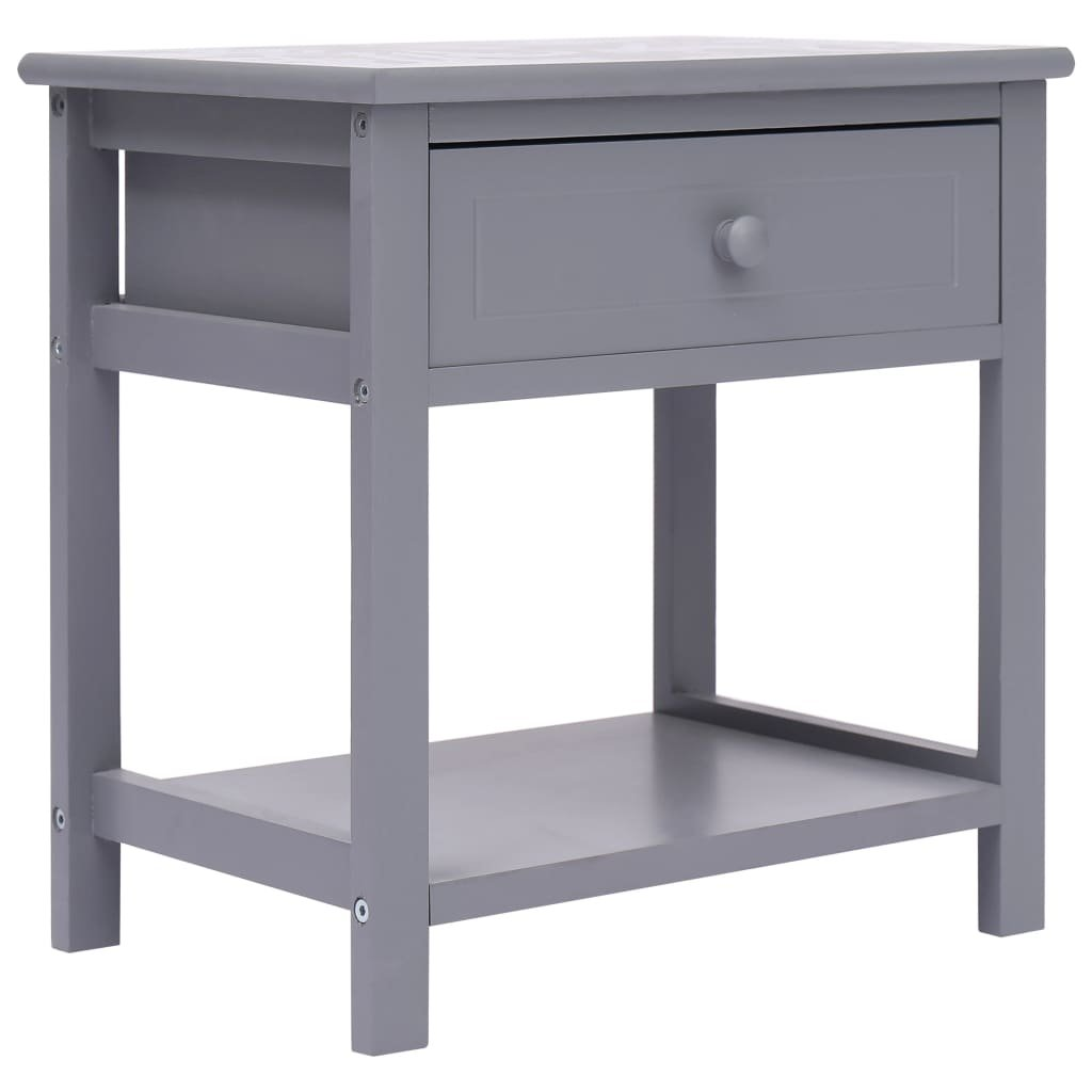 Noční stolek - dřevo pavlovnie - šedý | 40x29x42 cm