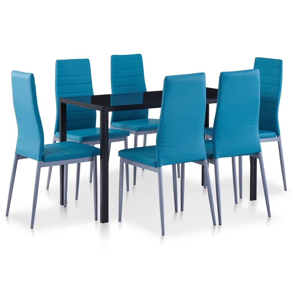Jídelní set Corryton - 7dílný   modrý