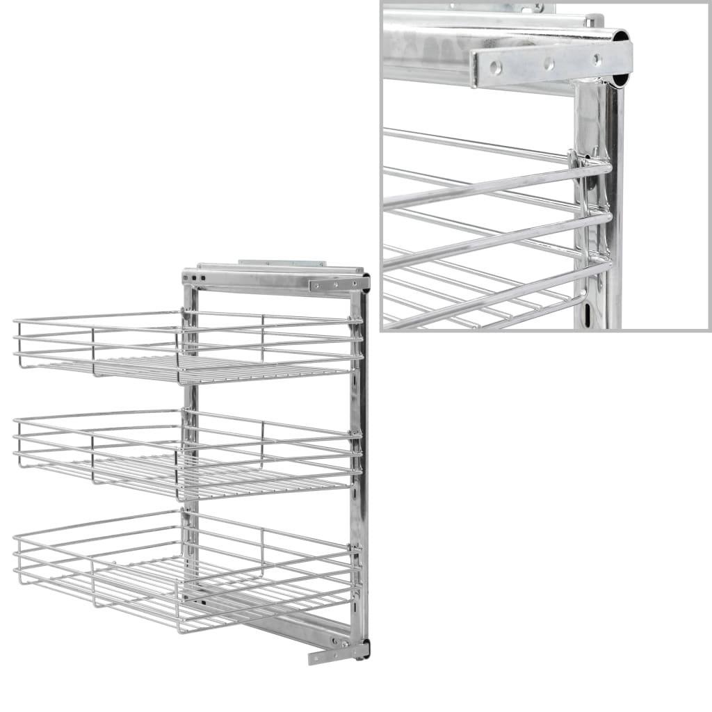 3patrový výsuvný kuchyňský drátěný koš - stříbrný | 37x51x60 cm
