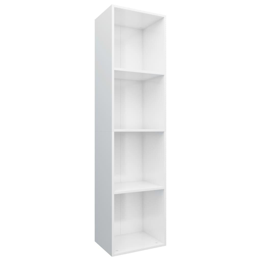Knihovna/TV skříň - bílá vysoký lesk | 36x30x143 cm