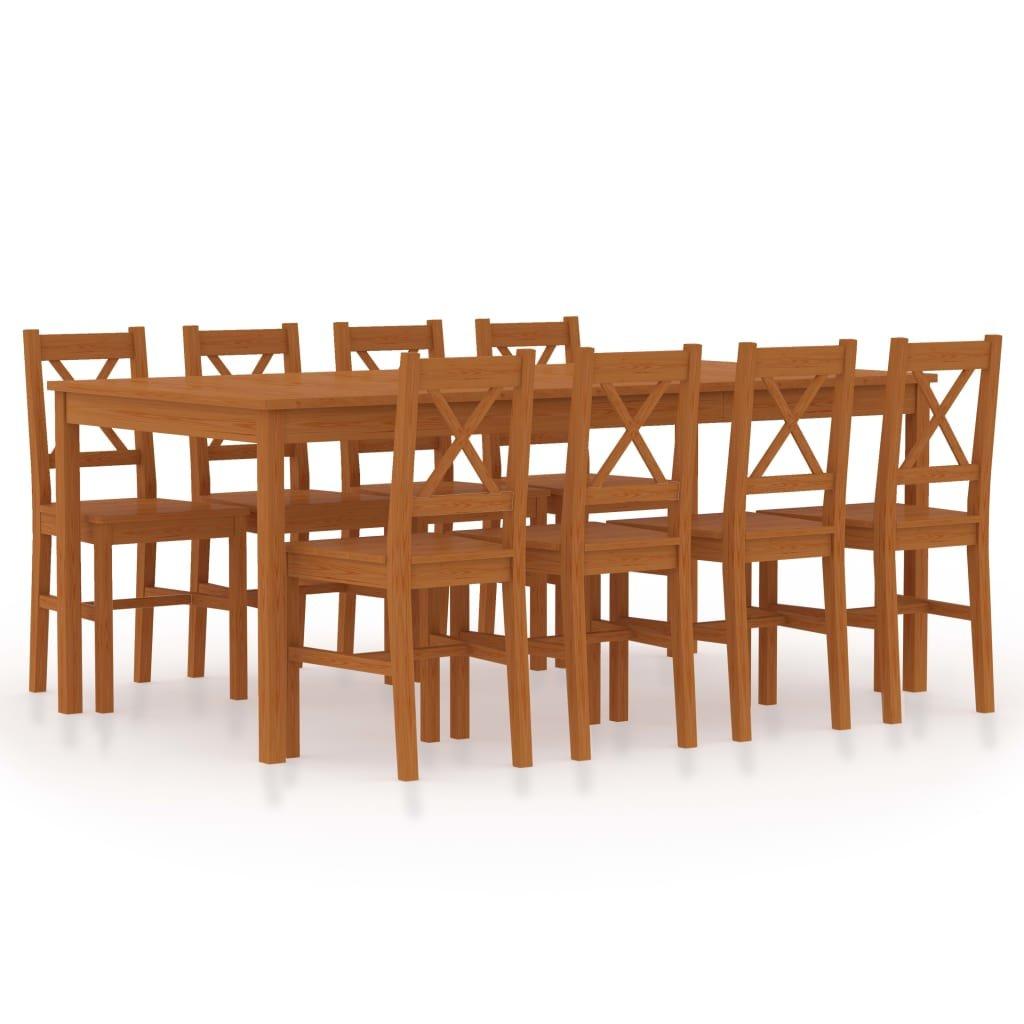 Jídelní set Cincinnati - 9dílný - borové dřevo | medově hnědý