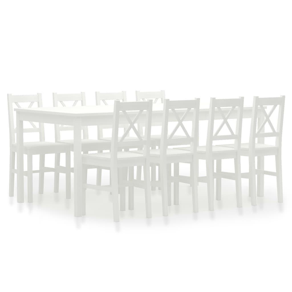 Jídelní set Cincinnati - 9dílný - borové dřevo | bílý
