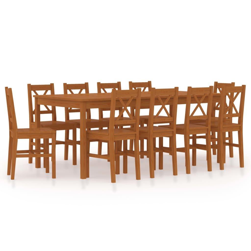 Jídelní set Cincinnati - 11dílný - borové dřevo | medově hnědý