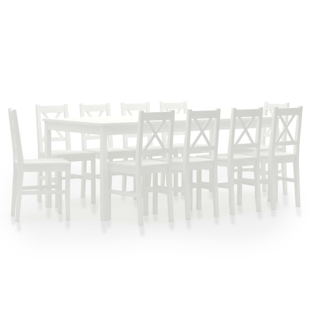 Jídelní set Cincinnati - 11dílný - borové dřevo   bílý