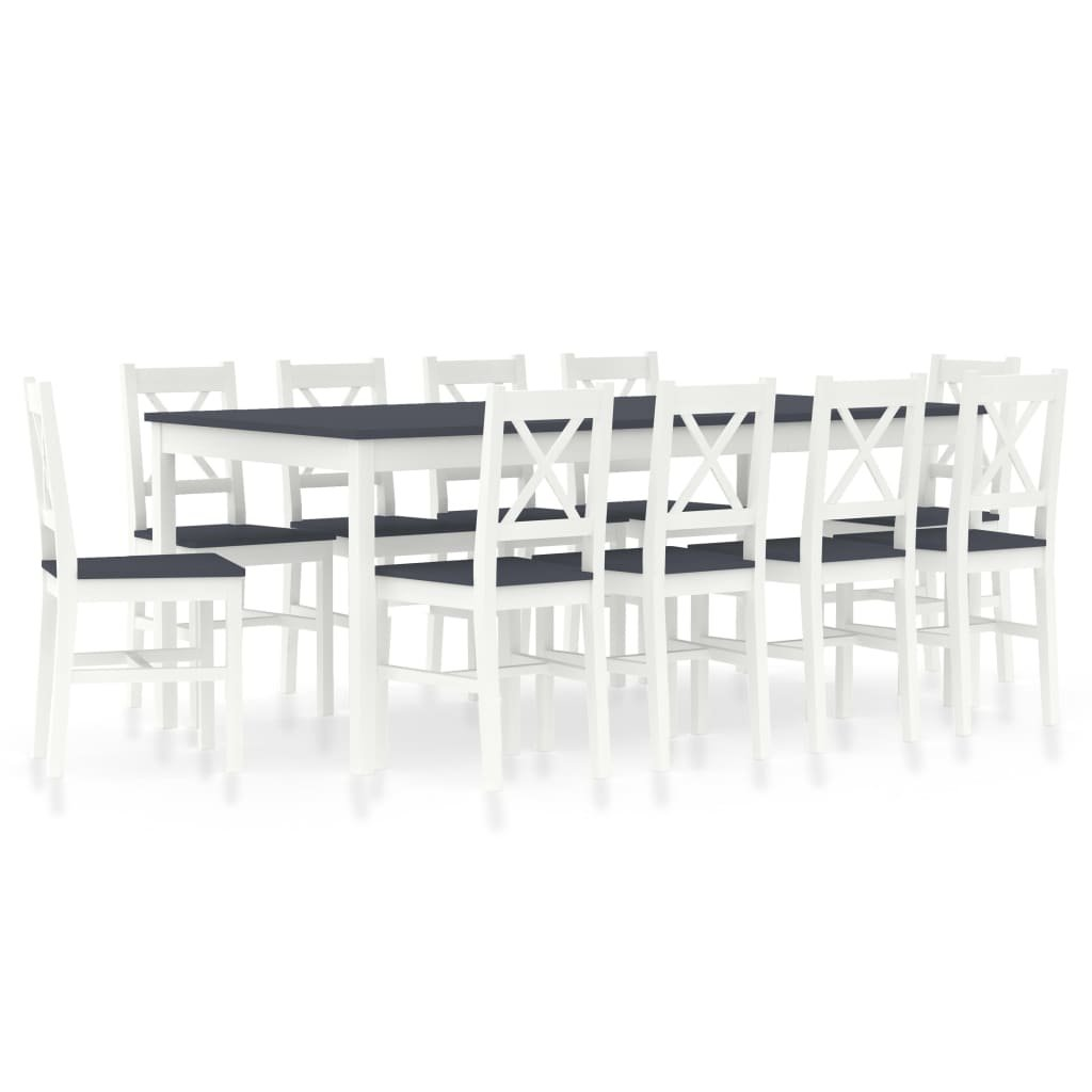 Jídelní set Cincinnati - 11dílný - borové dřevo | bílo-šedý