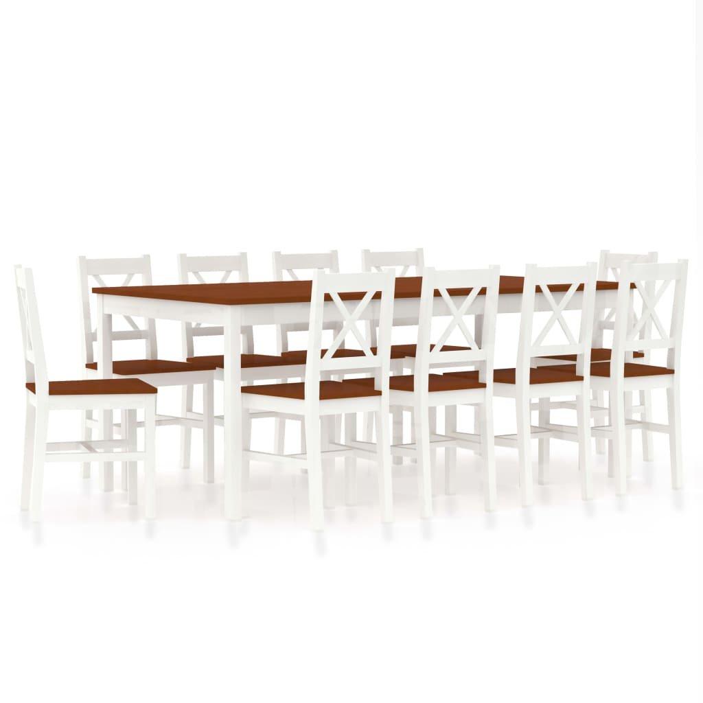 Jídelní set Cincinnati - 11dílný - borové dřevo   bílo-hnědý