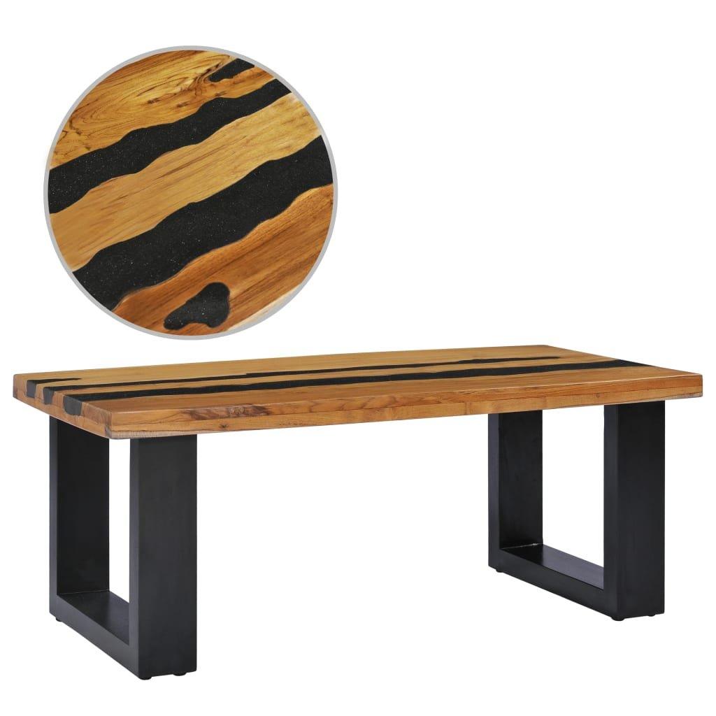 Konferenční stolek -  masivní teak a lávový kámen | 100x50x40 cm