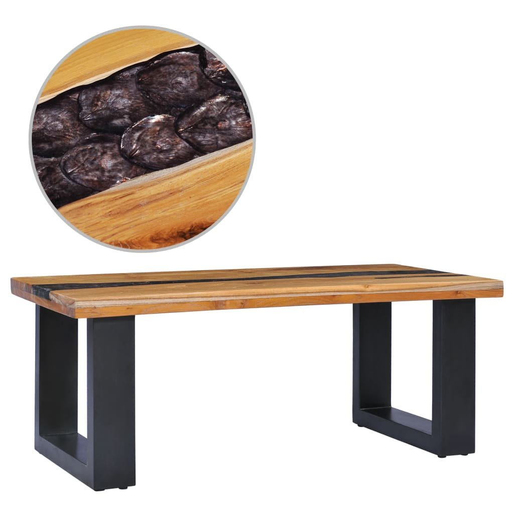 Konferenční stolek -  masivní teak a polyresin | 100x50x40 cm