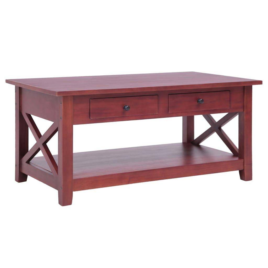 Konferenční stolek - hnědý -masivní mahagon | 100x55x46 cm