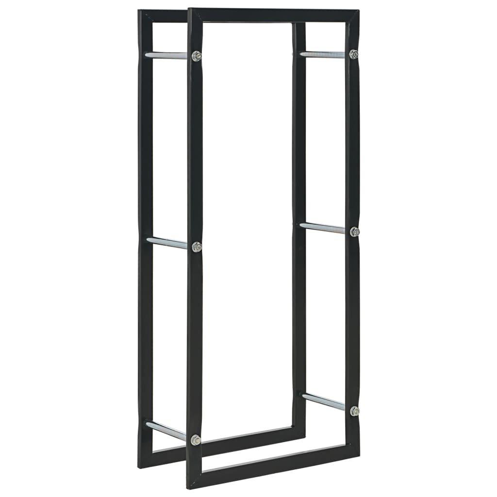 Stojan na palivové dříví - černý - ocel   44x20x100 cm