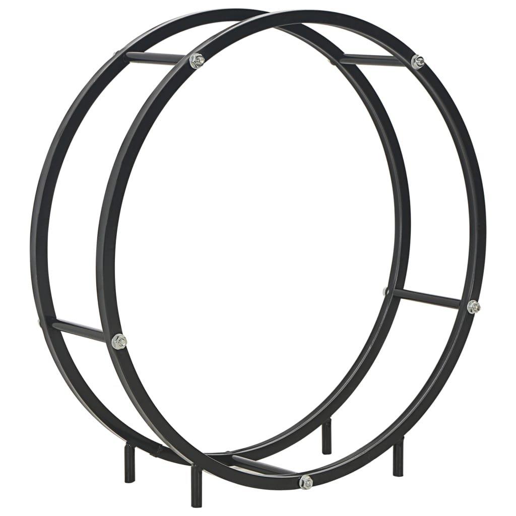 Stojan na palivové dříví - černý - ocel | 70x20x70 cm
