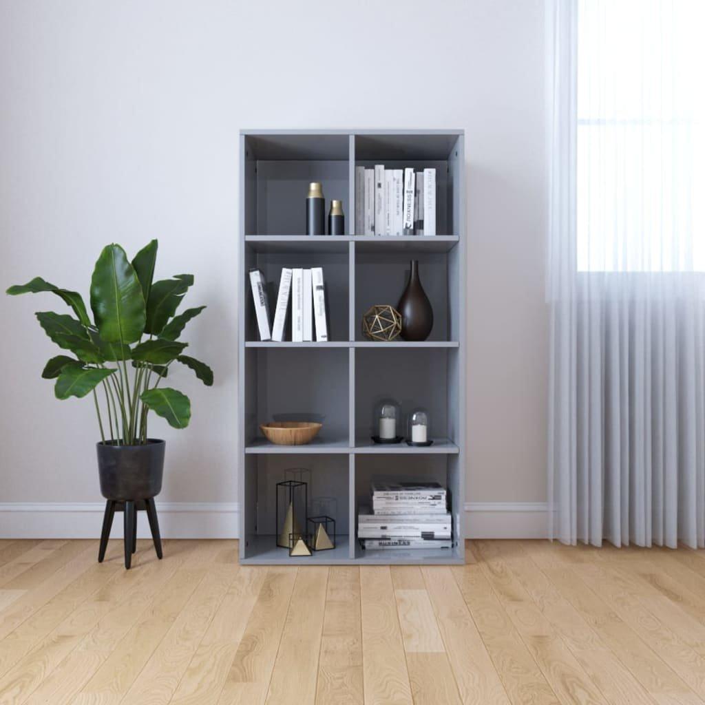 Knihovna/příborník - šedá - vysoký lesk - dřevotříska | 66x30x130 cm