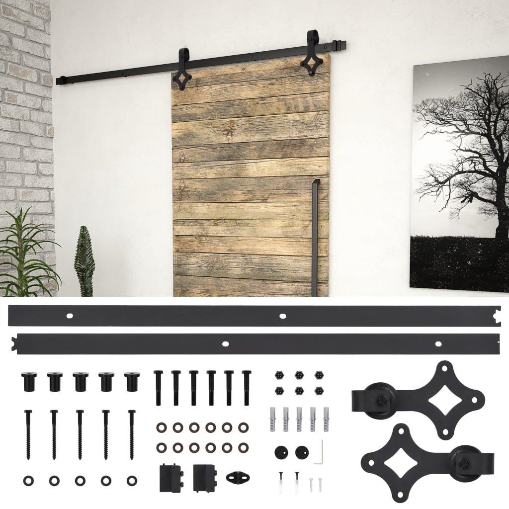 Sada příslušenství pro posuvné dveře - ocelová - černá | 183 cm
