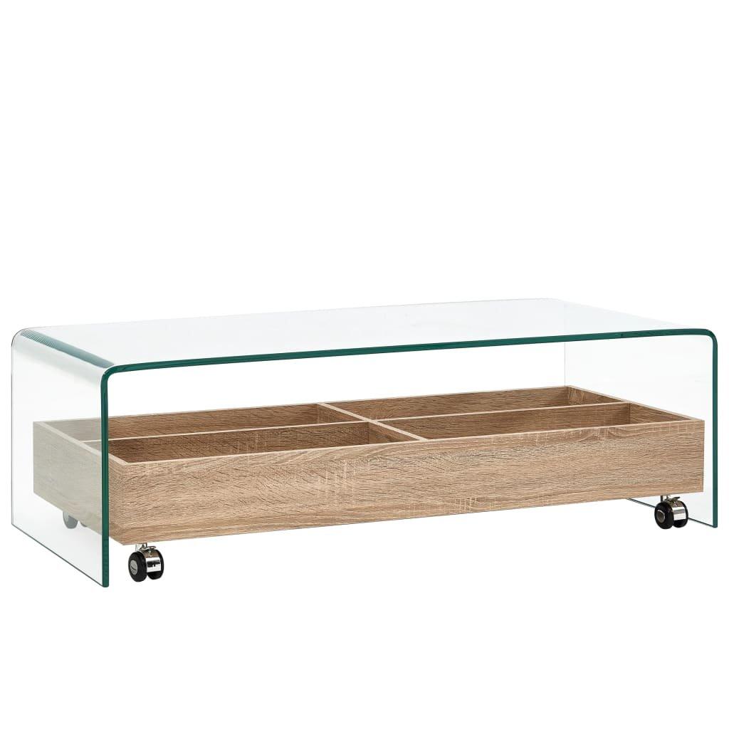 Konferenční stolek - čirý -tvrzené sklo | 98x45x31 cm