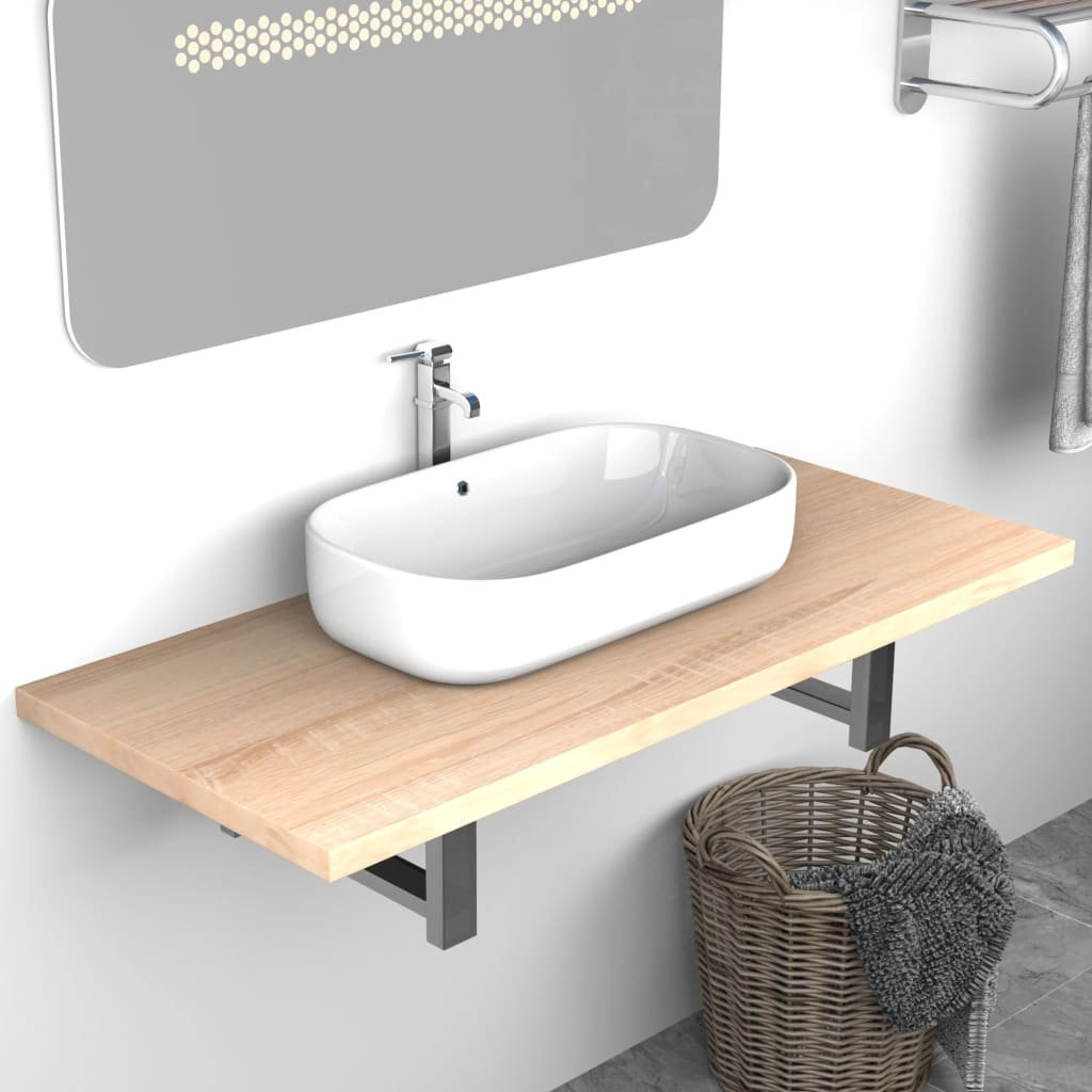 Deska pod umyvadlo - včetně konzole - dub | 90x40x16,3 cm