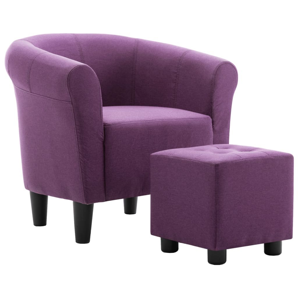 Křeslo a stolička Mitchell - textil | fialová