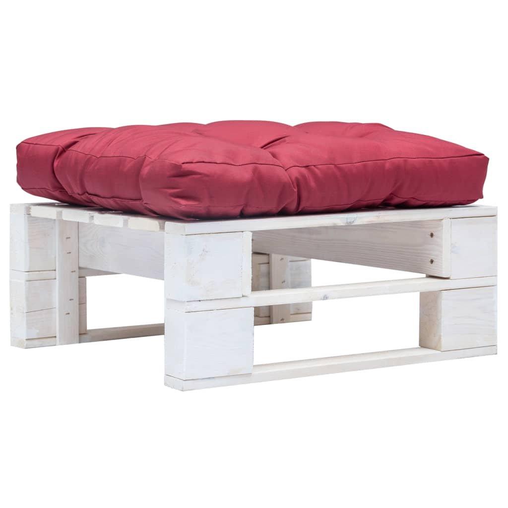 Zahradní taburet z palet s červenou poduškou Ruiru | bílý