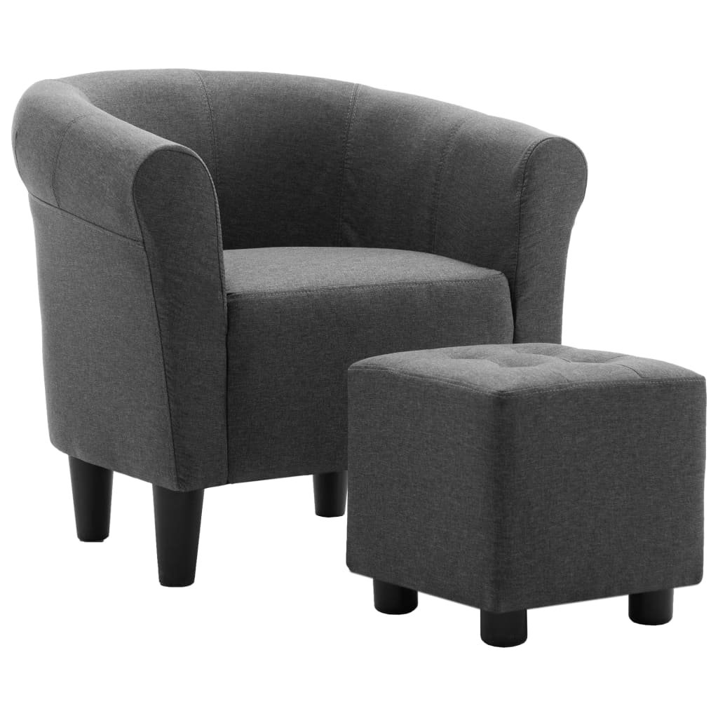 Křeslo a stolička Mitchell - textil | tmavě šedá