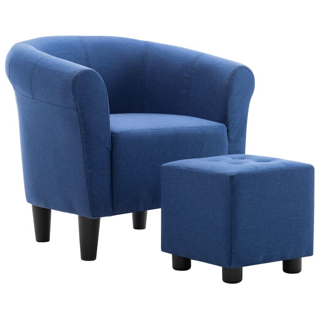 Křeslo a stolička Mitchell - textil   modrá