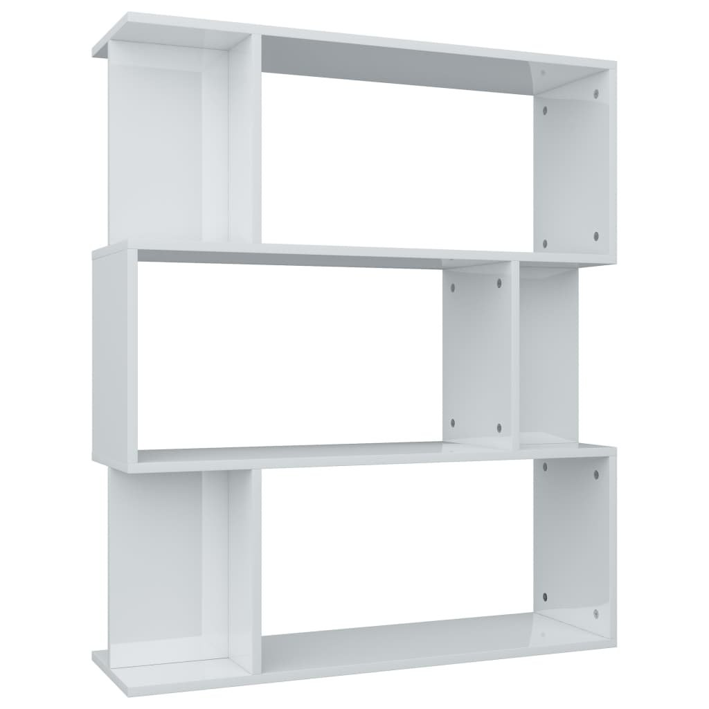 Knihovna/zástěna - bílá vysoký lesk | 80x24x96 cm