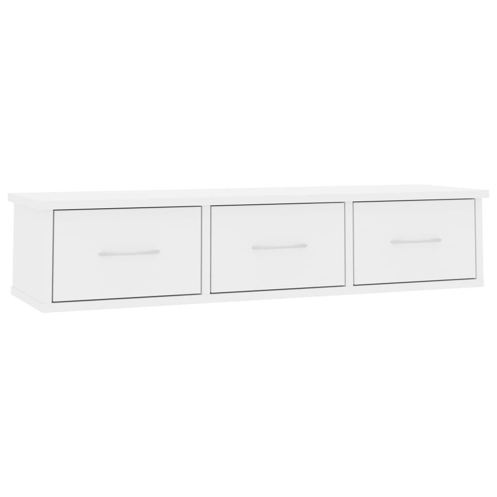 Nástěnná police se zásuvkami - bílá s leskem | 90x26x18,5 cm