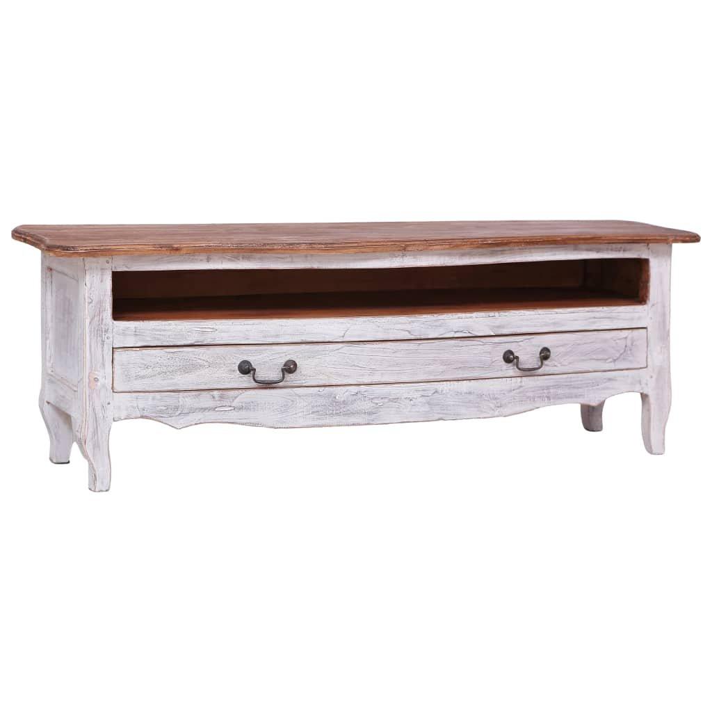 TV stolek Greyson - masivní recyklované dřevo - bílý   120x30x40 cm