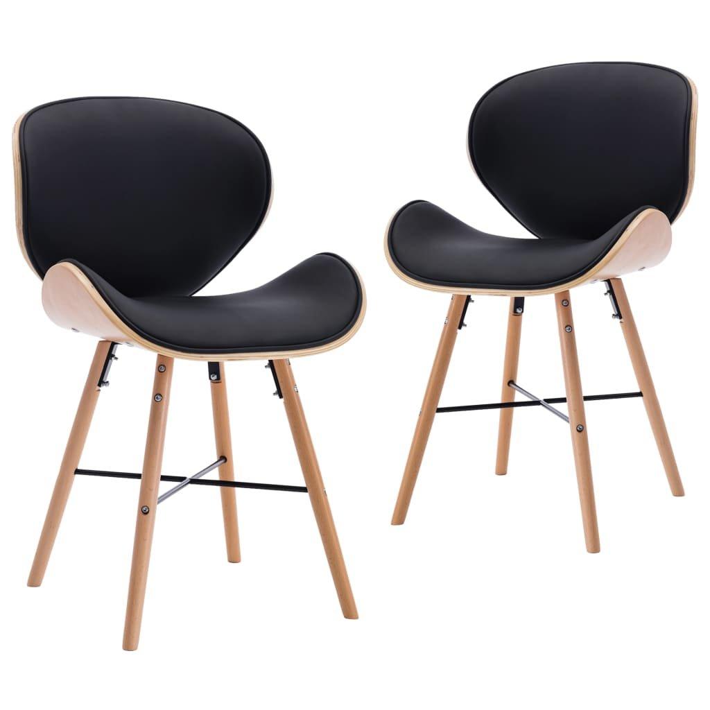 Jídelní židle Opal - 2 ks - umělá kůže a ohýbané dřevo | černé