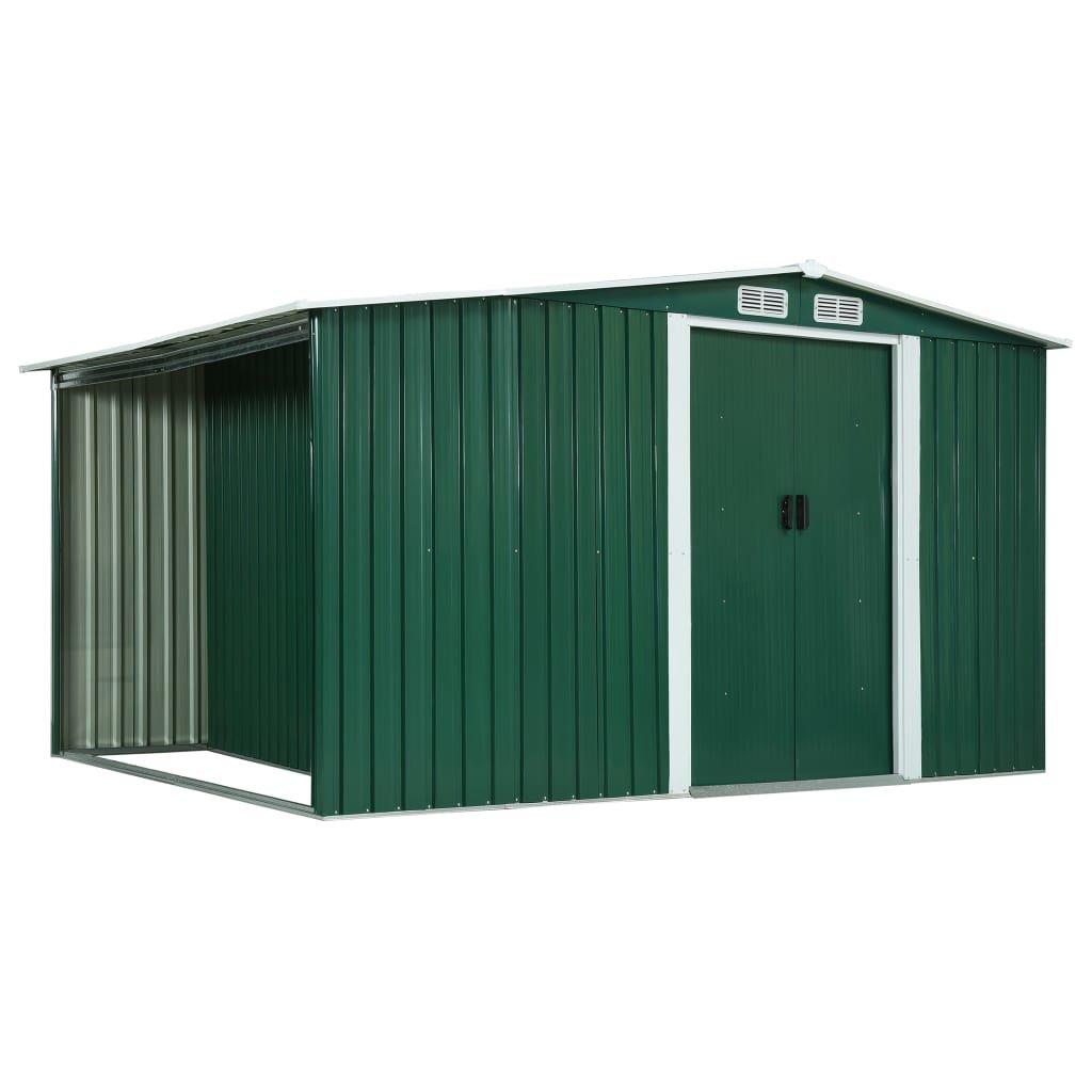 Zahradní domek s prostorem na dříví - ocel - zelený | 329,5x131x178 cm