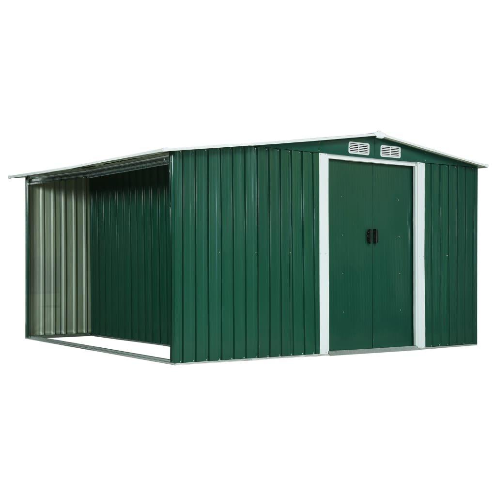 Zahradní domek s prostorem na dříví - ocel - zelený | 329,5x312x178 cm