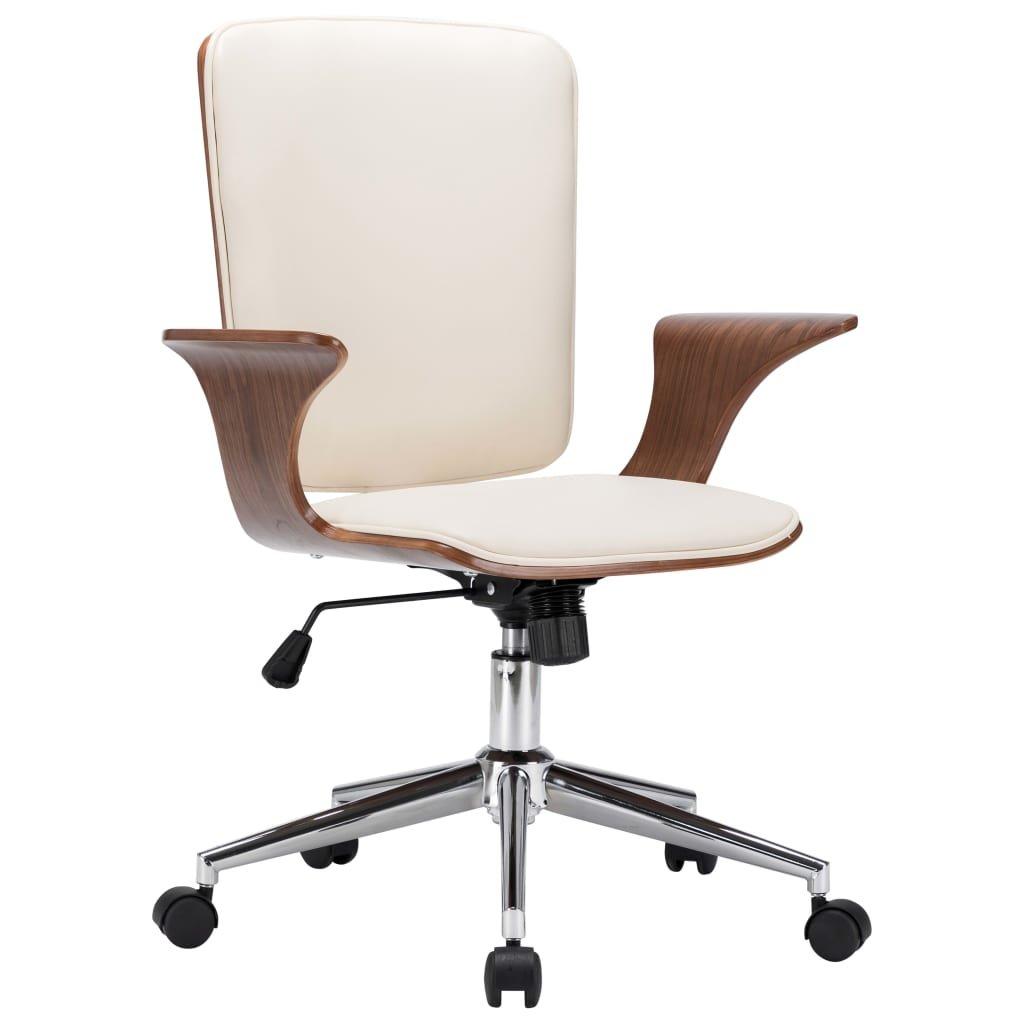 Otočná kancelářská židle - umělá kůže a ohýbané dřevo | krémová