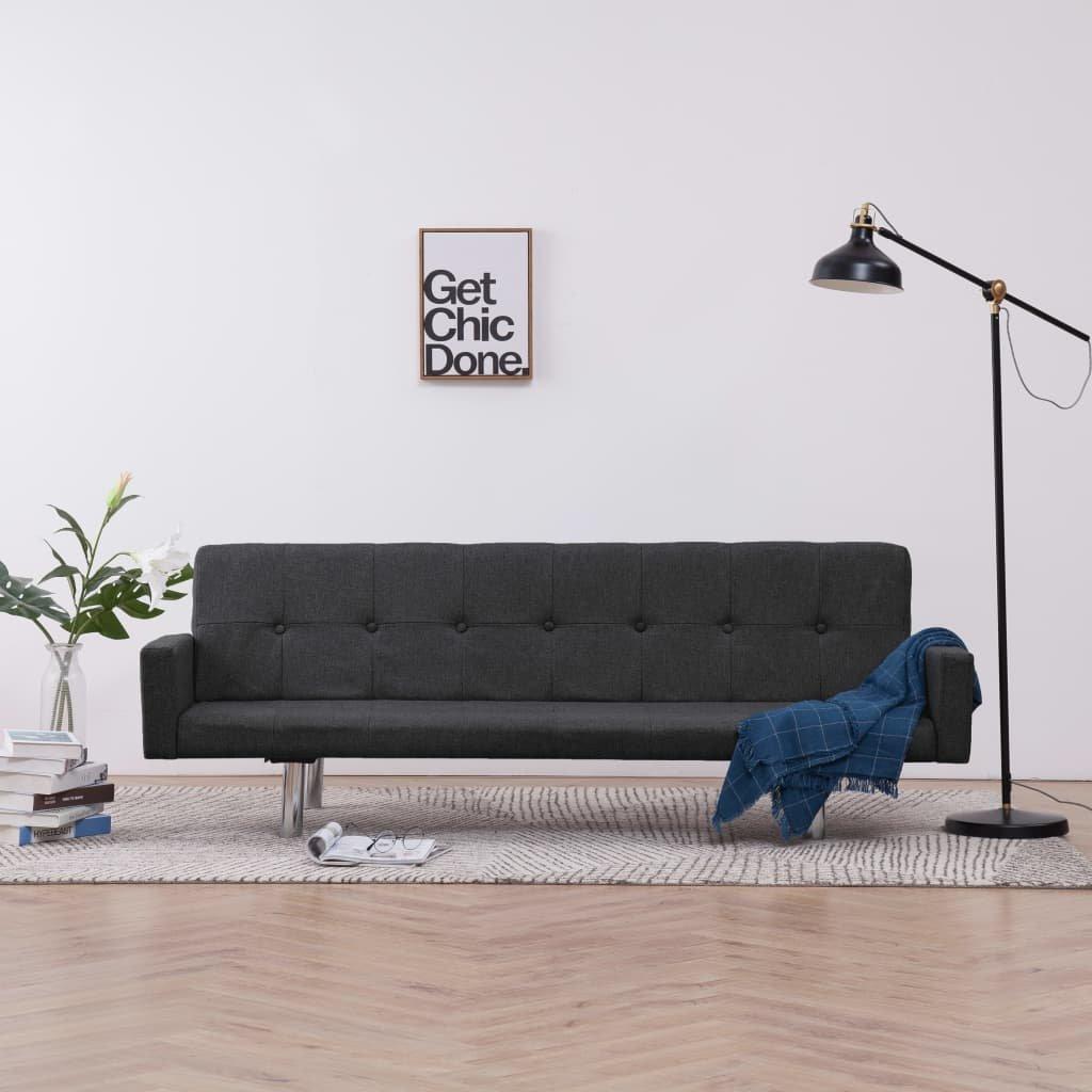 Rozkládací pohovka s područkami Lacona - polyester | tmavě šedá