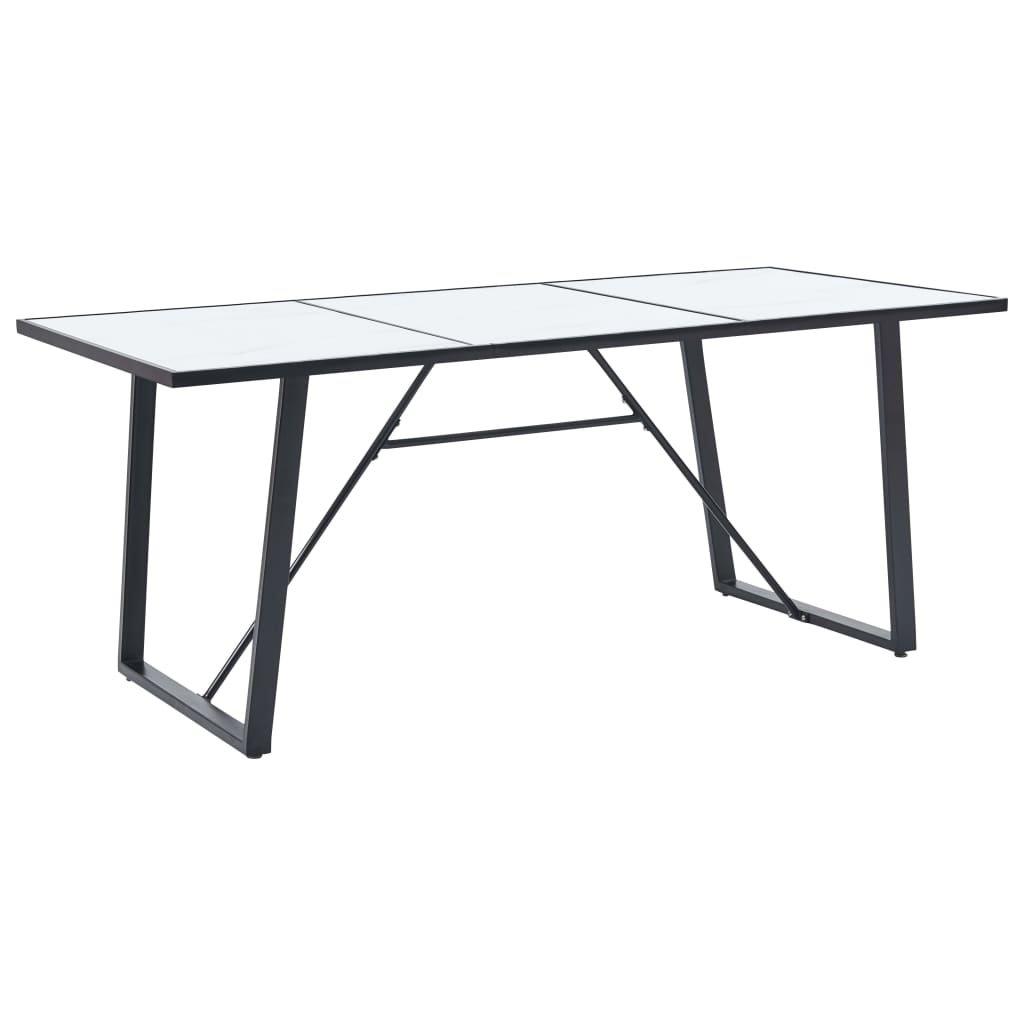Jídelní stůl Grumma - bílý - tvrzené sklo | 200x100x75 cm