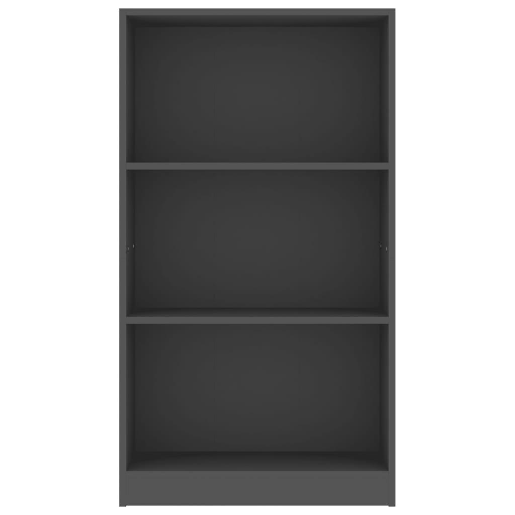 3-patrová knihovna Bieber - šedá | 60x24x108 cm