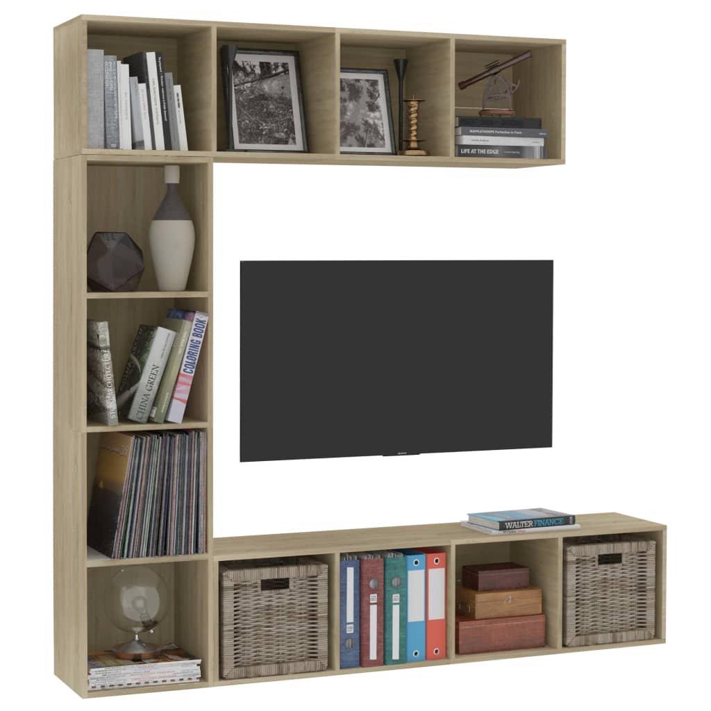 3-dílná TV skříňka a knihovna Welshly - sonoma dub   180x30x180 cm