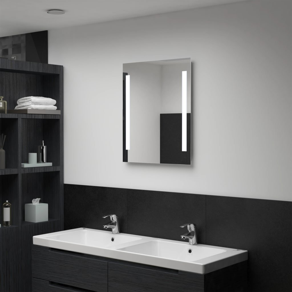 Koupelnové nástěnné zrcadlo V s LED osvětlením | 50x60 cm