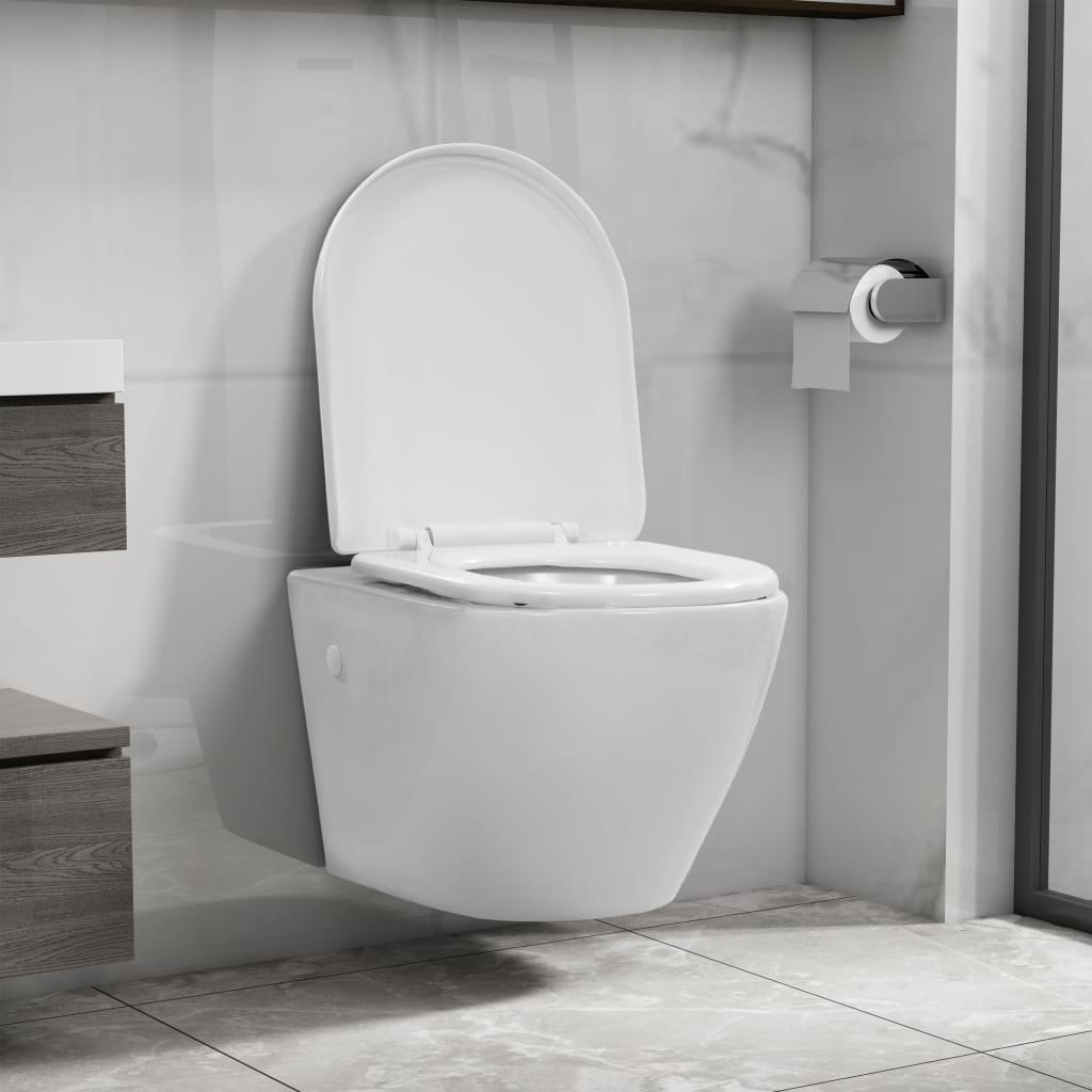 Závěsné WC bez okraje - keramické | bílé
