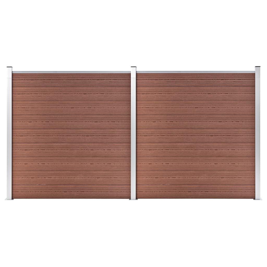 Zahradní plot Atlanta - dřevoplast - 2díly - 353x186 cm | hnědý