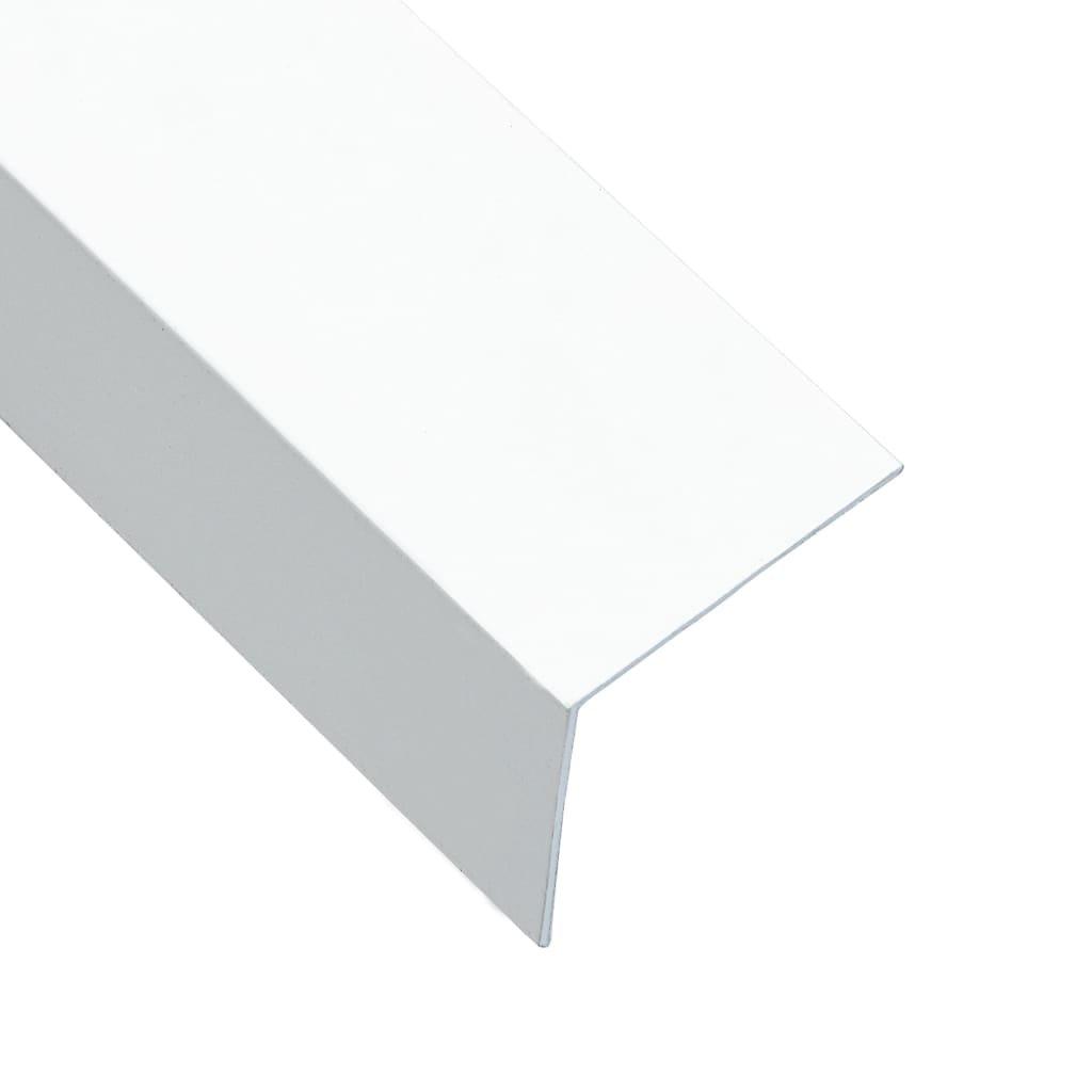 Úhlové lišty ve tvaru L - 5 ks - hliník - bílé | 170 cm - 50x50 mm