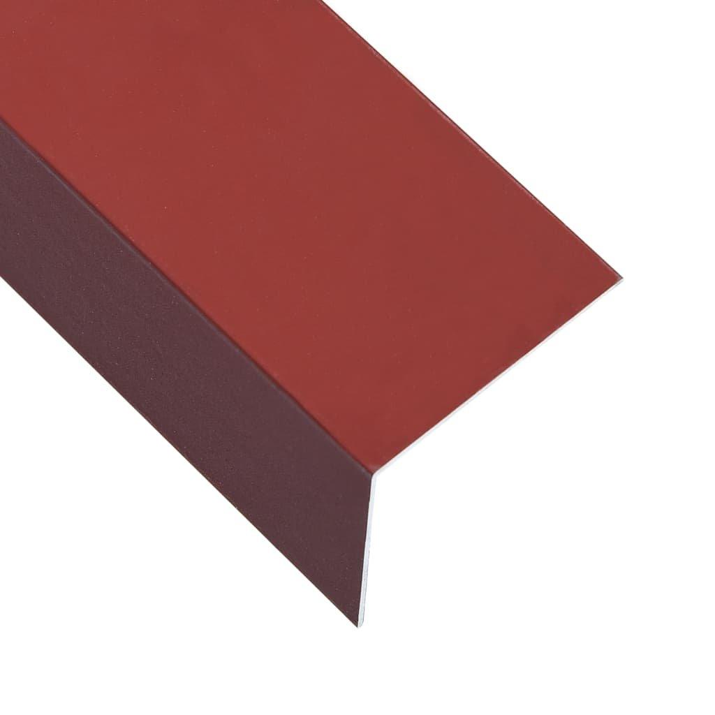 Úhlové lišty ve tvaru L - 5 ks - hliník - červené | 170 cm - 100x50 mm