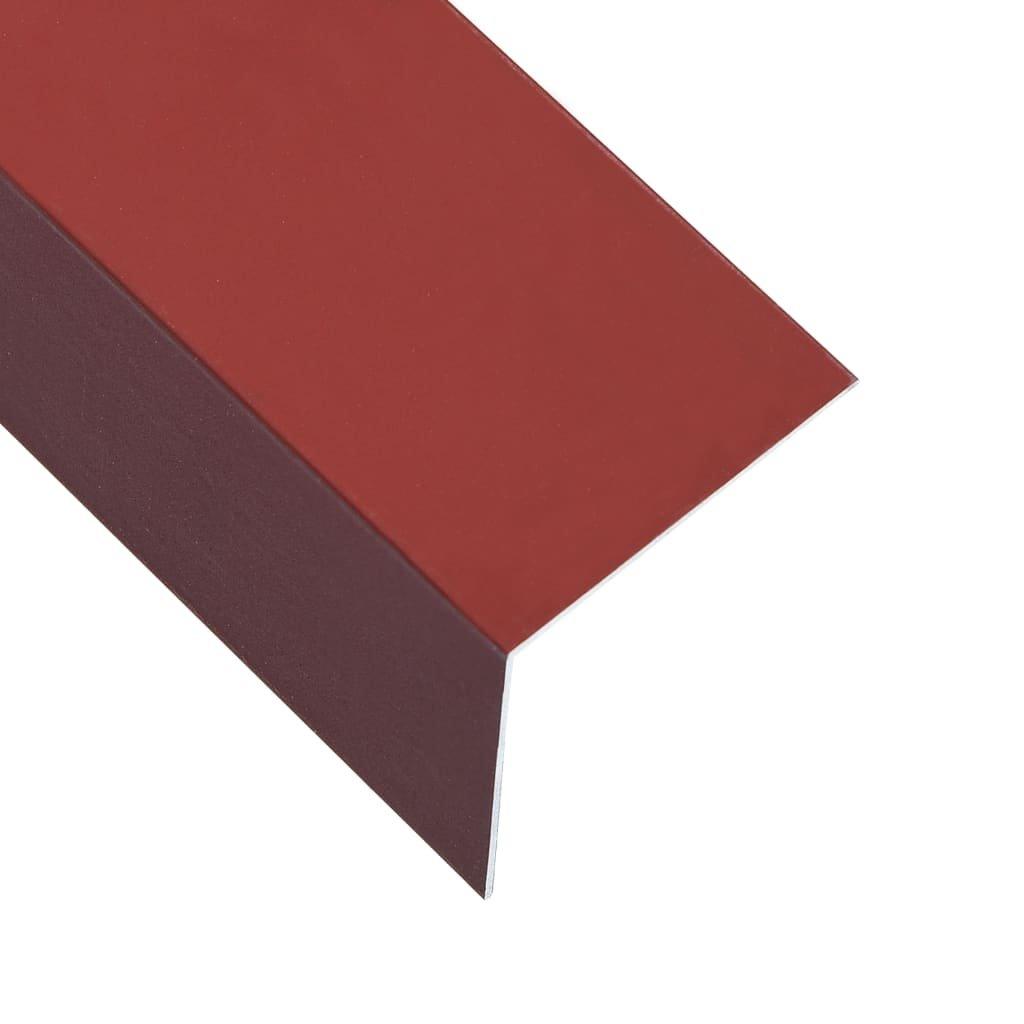 Úhlové lišty ve tvaru L - 5 ks - hliník - červené | 170cm - 100x100mm
