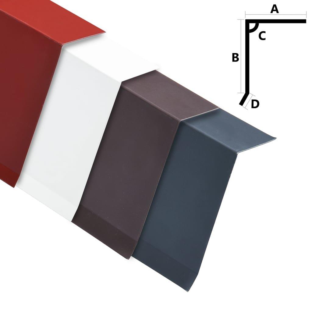 Okapnice ve tvaru L - 5 ks - hliník - 20 cm - 170 cm   červené