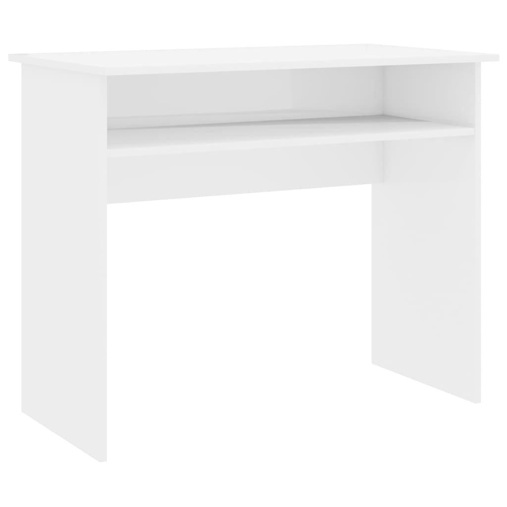 Psací stůl Mellrose - dřevotříska - bílý s vysokým leskem | 90x50x74 cm