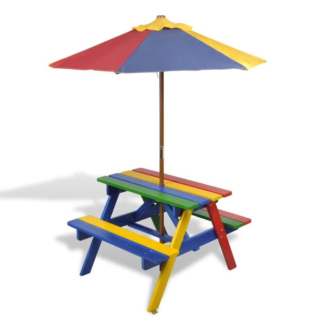 Dětský piknikový stůl - lavičky a slunečník | vícebarevný dřevo